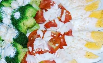 sałatka z brokułów i jajek sos czosnkowy