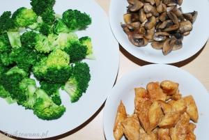 Brokuły kurczak pieczarki